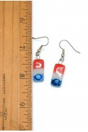 USA Tiny Rectangle Glass Earrings