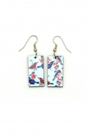 Birds on Blue Earrings