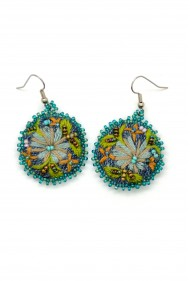 Denim Flower Earrings