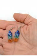Glass Tiny Rectangle Earrings