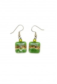 Small Square Glass Earrings