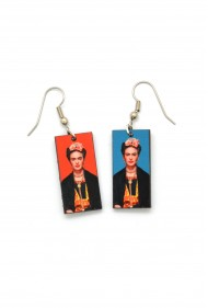 Frida Kahlo Earrings * Red/Blue