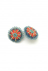 Embroidered Denim Daisy Studs