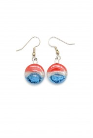 Round Glass USA Earrings