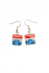 Square Glass USA Earrings