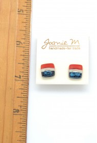 Red White Blue Glass Studs
